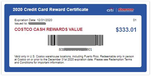 Costco信用卡返现Certificate
