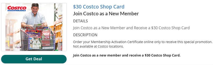 Costco新会员送$30礼卡