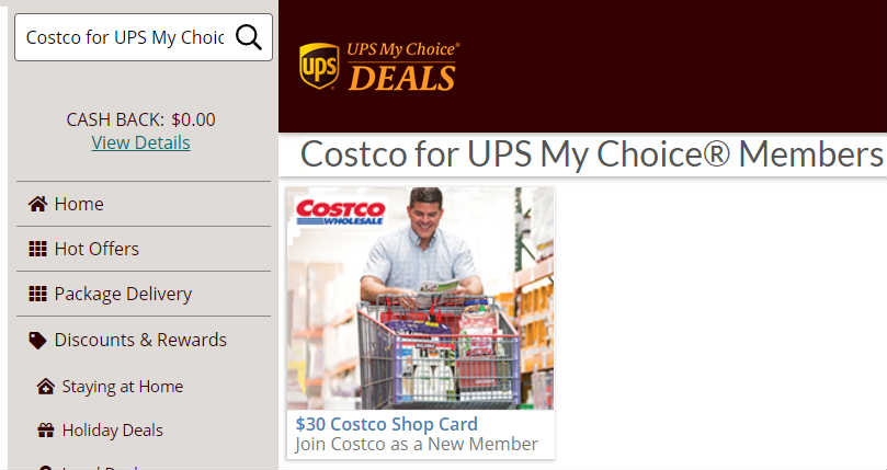 Costco新会员折扣UPS My Choice Deals