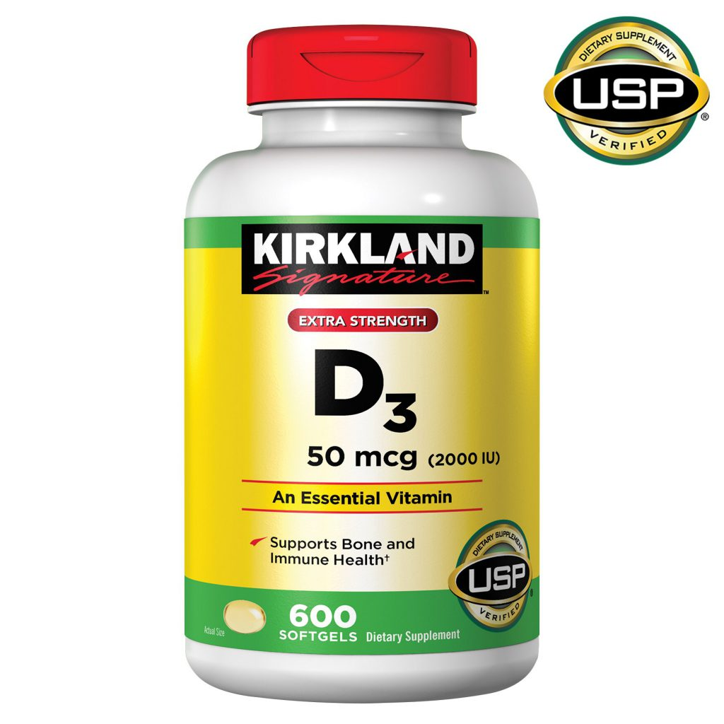 Kirkland Signature 科克兰强效维生素D3软胶囊,2000 IU(50微克),600粒
