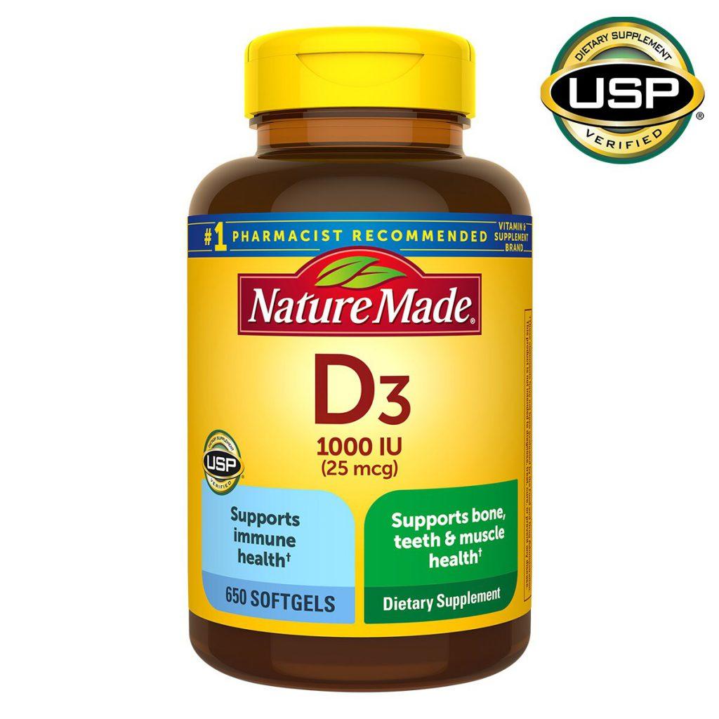 Nature Made 莱萃美维生素D3软胶囊,1000 IU(25微克),650粒