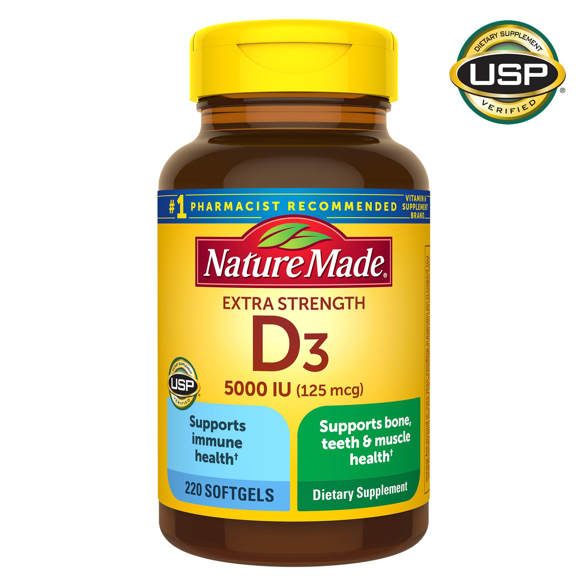 Nature Made 莱萃美强效维生素D3软胶囊,5000 IU(125微克),220粒