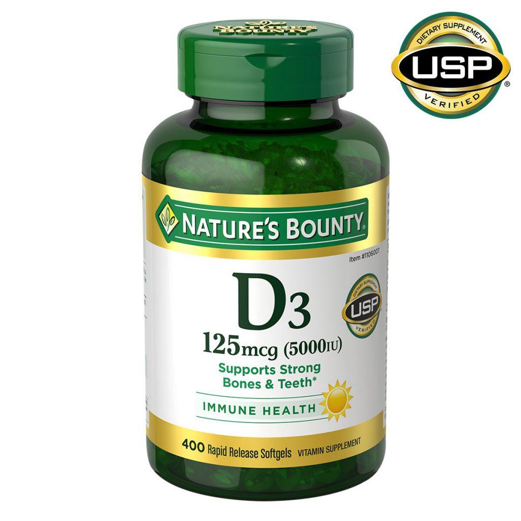 Natures Bounty 自然之宝维生素D3软胶囊,5000 IU(125微克),400粒